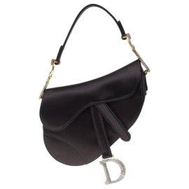 Christian Dior-Bolsa Christian Dior Saddle Mini em cetim preto, strass e jóias de ouro envelhecidas, Nova Condição-Preto