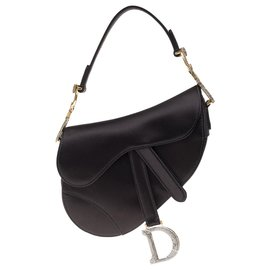 Christian Dior-Christian Dior Saddle Mini bag in black satin, aged gold jewelry and rhinestones, new condition-Black