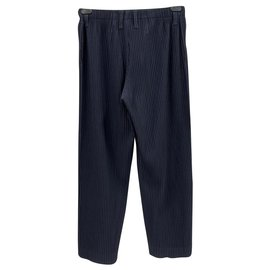 Issey Miyake-Homme Plissé pleated trousers-Navy blue