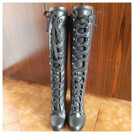 Max Mara-Leather boots-Black
