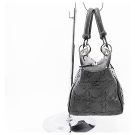 Christian Dior-Dior handbag in black woven lambskin cane-style-Black