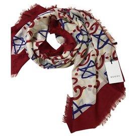 Gucci-Gucci red shawl-White,Red,Blue