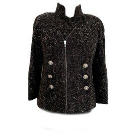 Chanel-veste en tweed métallisé-Noir