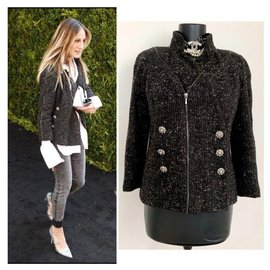 Chanel-metallic tweed jacket-Black