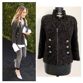 Chanel-jaqueta de tweed metálica-Preto