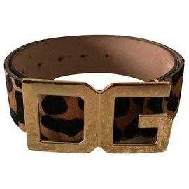 Dolce & Gabbana-Pony hair styled leopard belt-Leopard print