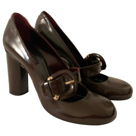 Burberry-Rétro styled pumps-Dark brown