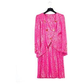 Yves Saint Laurent-pink panther silk FR38-Pink,Golden