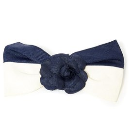 Chanel-IVORY NAVY CAMELIA-Cream,Navy blue