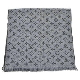 Louis Vuitton-Louis Vuitton Monogram Echarpe Classic Scarf Shawl Wrap Muffler Wool-Gris