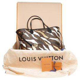Louis Vuitton-Louis Vuitton Neverfull MM série limitada League of legends (LOL), conjunto completo-Marrom,Preto,Branco,Bege