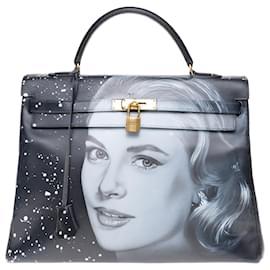 "Hermès-Hermes Kelly bag 35 returned in black box leather customized ""Grace Kelly"" # 54 by PatBo-Black"