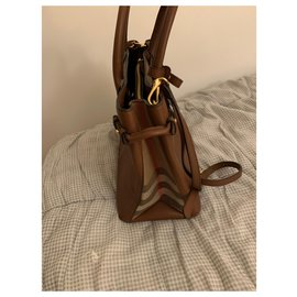 Burberry-Medium Banner House Check Leather Tote BURBERRY-Brown