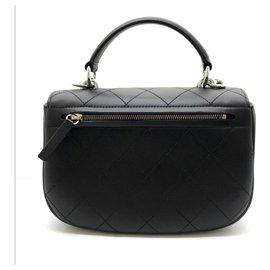 Chanel-Chanel Black top handle flap bag-Black