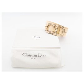 """Dior-Dior CD belt in ivory grained leather with iconic """"CD"""" buckle-Beige"""