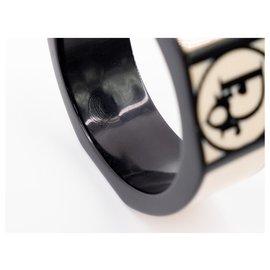 Dior-Bracelet Manchette Dior en bois laqué noir et ivoire style vintage-Beige