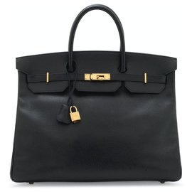 Hermès-Very beautiful Hermès Birkin Black Bag 40, Ardennes leather, Collector-Black