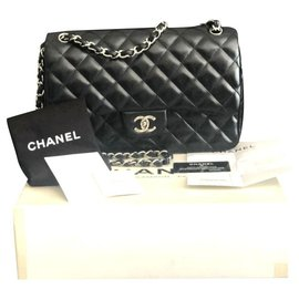 Chanel-Sac à rabat doublé classique Chanel Jumbo-Noir