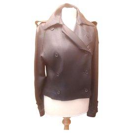 Hermès-Blouson perfecto cuir HERMES-Noir