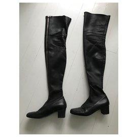 Chanel-Chanel thigh boots-Black,Golden,Metallic,Ebony,Bronze,Ebony