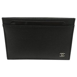 Chanel-CHANEL CARD HOLDER IN BLACK GRAINED LEATHER . New never served-Hazelnut