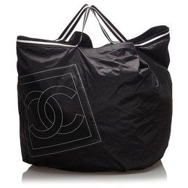 Chanel-Chanel Black CC Nylon Sports Line Travel Bag-Black,White