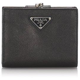 Prada-Prada Black Saffiano Leather Bi-fold Wallet-Black