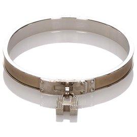 Hermès-Hermes Silver Kelly H Lock Cadena Bracelet-Argenté