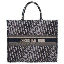 Christian Dior-Christian Dior Book GM sacola de compras em lona azul, Nova Condição-Azul
