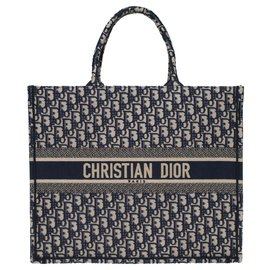 Christian Dior-Christian Dior Book GM shopping bag in blue canvas, new condition-Blue