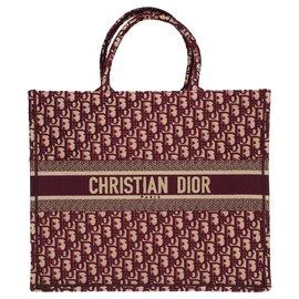 Christian Dior-Sacola do GM Christian Book Dior em lona oblíqua do monograma de Borgonha, Nova Condição-Bordeaux