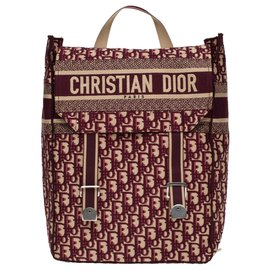 Christian Dior-Christian Dior backpack in burgundy oblique monogram canvas, new condition-Dark red