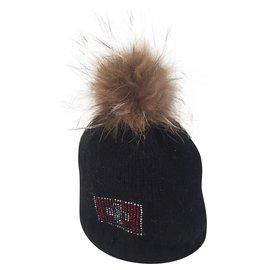 Autre Marque-ponpon fox hat-Black