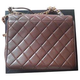 Chanel-Vintage chanel lambskin bag-Chocolate
