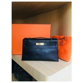 Hermès-Very beautiful Hermès KELLY CLUTCH Bag Black, Evergrain-Black