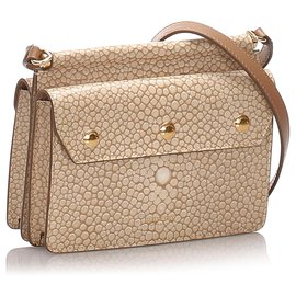 Burberry-Burberry Brown Printed Leather Baby Title Crossbody Bag-Brown,Beige