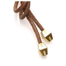 Hermès-Hermes Brown Loop Tie Choker Necklace-Brown
