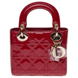 Christian Dior-Mini Lady Dior shoulder bag in cherry red patent leather, new condition-Red