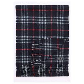 Burberry-Black nova check cashmere scarf-Black,Red,Light blue
