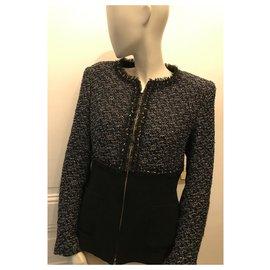 Escada-Bi-material jacket-Black,Navy blue