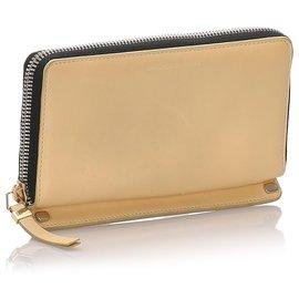 Balenciaga-Balenciaga Brown Leather Long Wallet-Brown,Beige