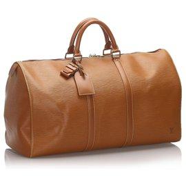 Louis Vuitton-Louis Vuitton Brown Epi Keepall 55-Marron
