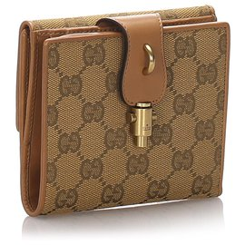 Gucci-Gucci Brown GG Canvas Bi-Fold Wallet-Brown