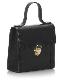 Yves Saint Laurent-YSL Black Leather Satchel-Black