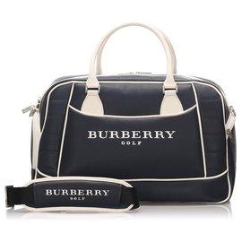 Burberry-Burberry Blue Leather Logo Travel Bag-White,Blue,Dark blue