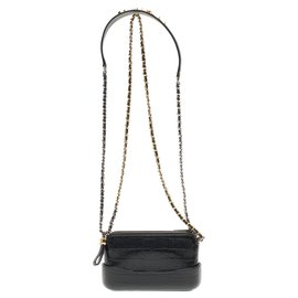 Chanel-Chanel Mini Gabrielle shoulder bag in crocodile-embossed black calf leather, new condition-Black