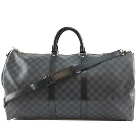 Louis Vuitton-Louis Vuitton Keepall Bandouliere 55 Toile Damier Graphite-Noir