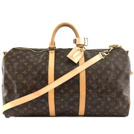 Louis Vuitton-Louis Vuitton Keepall Bandouliere 55 Toile monogramme-Marron