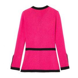 Chanel-PINK CASHMERE JACKET LIKE FR38-Black,Pink