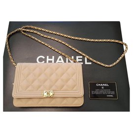 Chanel-Chanel WOC Wallet on Chain Boy bag-Beige,Golden